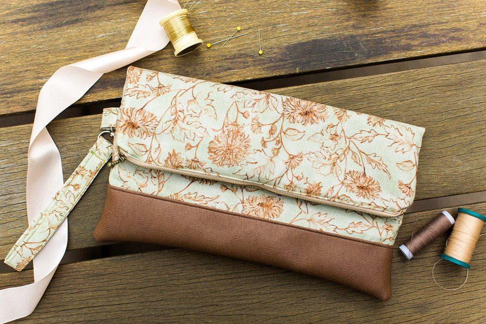 Handmade floral clutch bag from The Essential Stitch Etsy shop