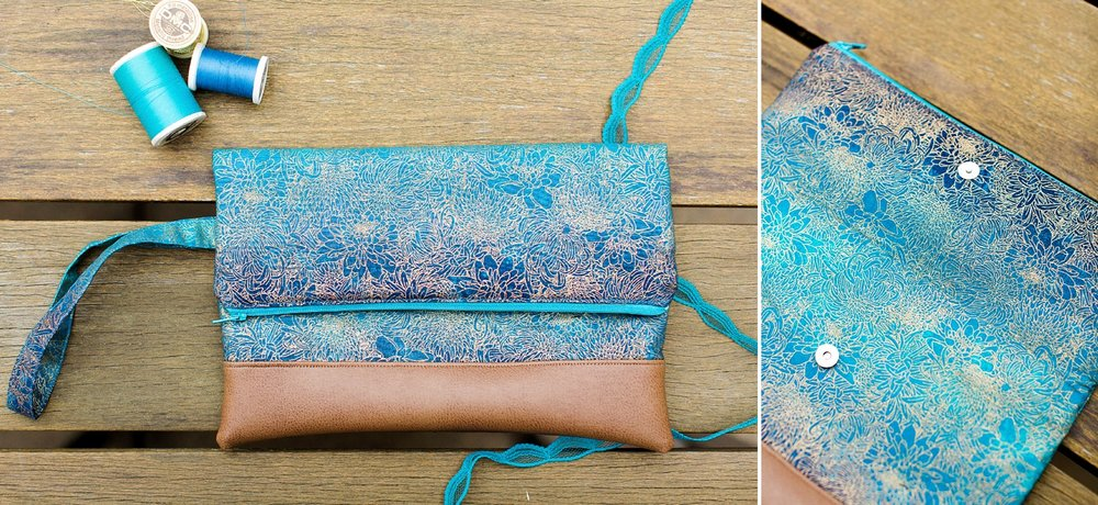 blue metallic floral clutch from The Essential Stitch Etsy shop