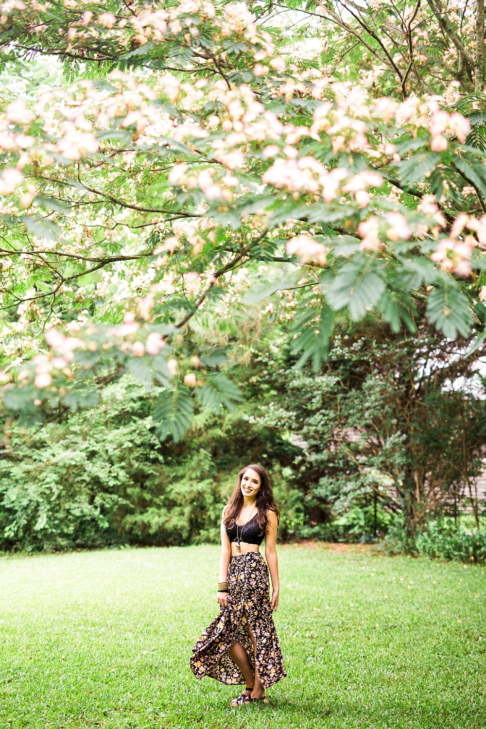 boho portrait under a mimosa tree