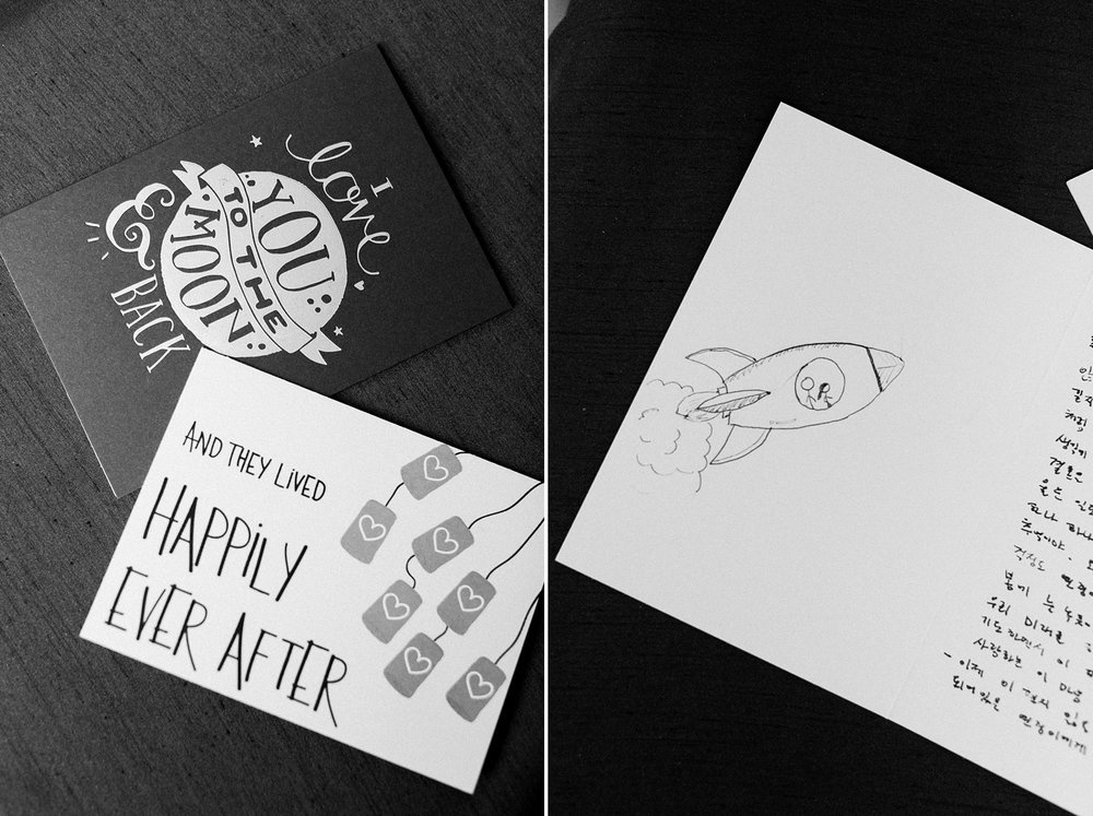 bride and groom's wedding day cards