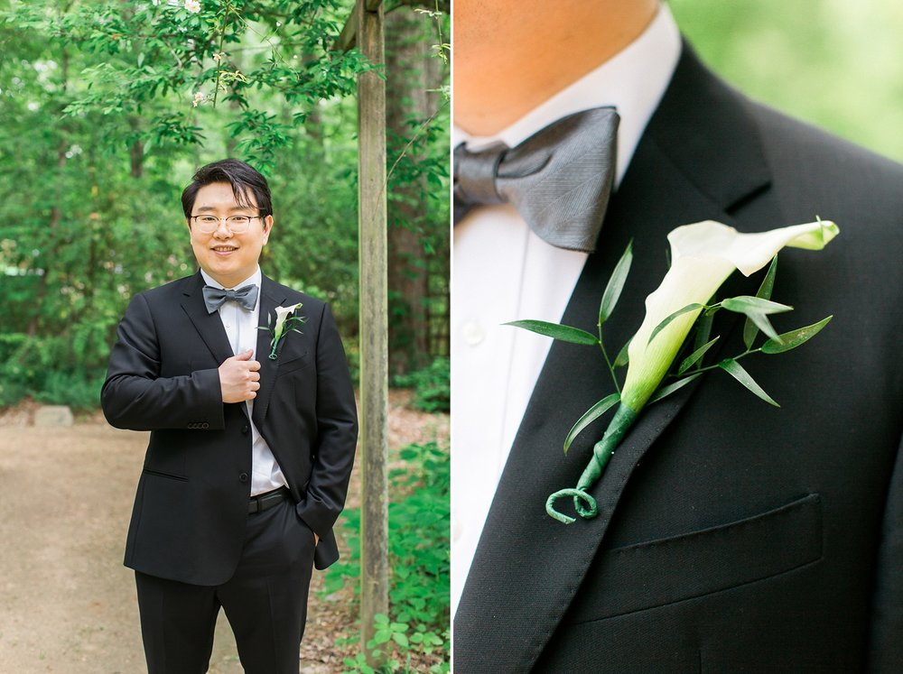 groom's portrait at unc botanical gardens in chapel hill