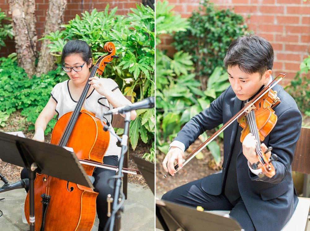 string duo plays during wedding ceremony