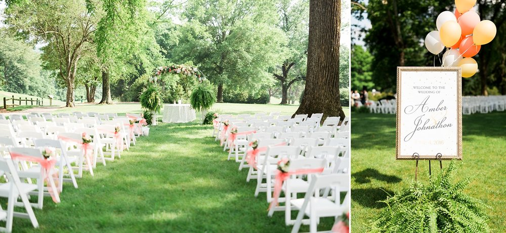 wedding ceremony site on green grass lawn