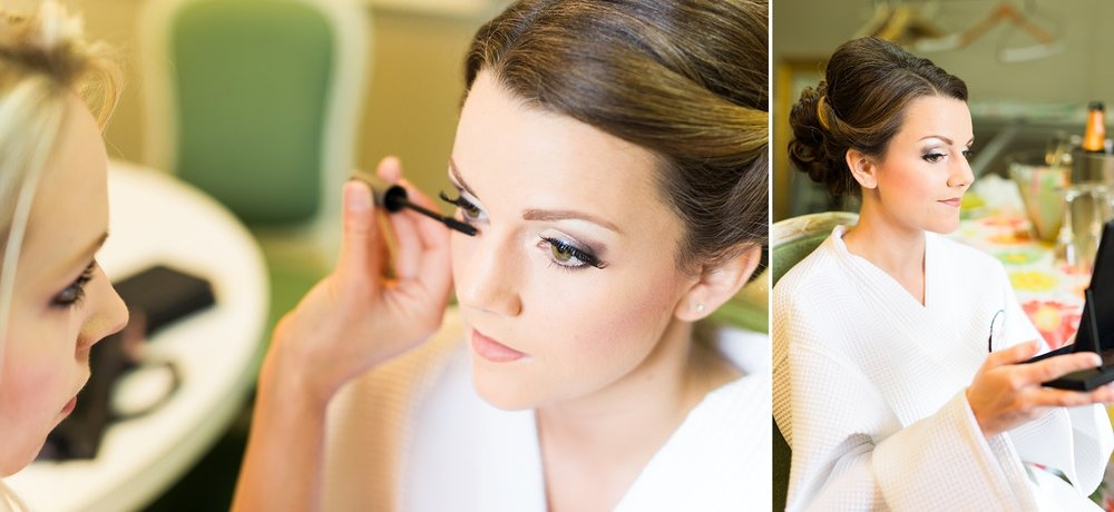 bride getting her makeup done for her wedding day