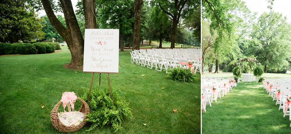 wedding ceremony on a country club lawn