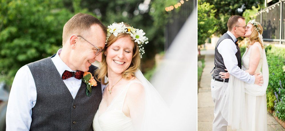 bride and groom portraits outside of humble pie wedding reception