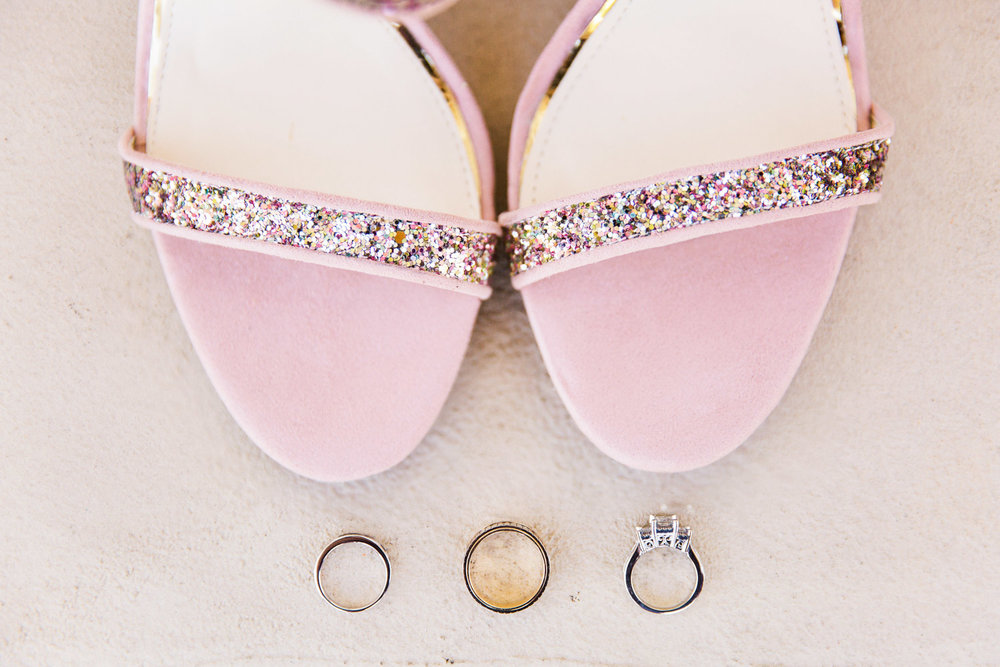 wedding rings with pink glitter strapped wedding shoes