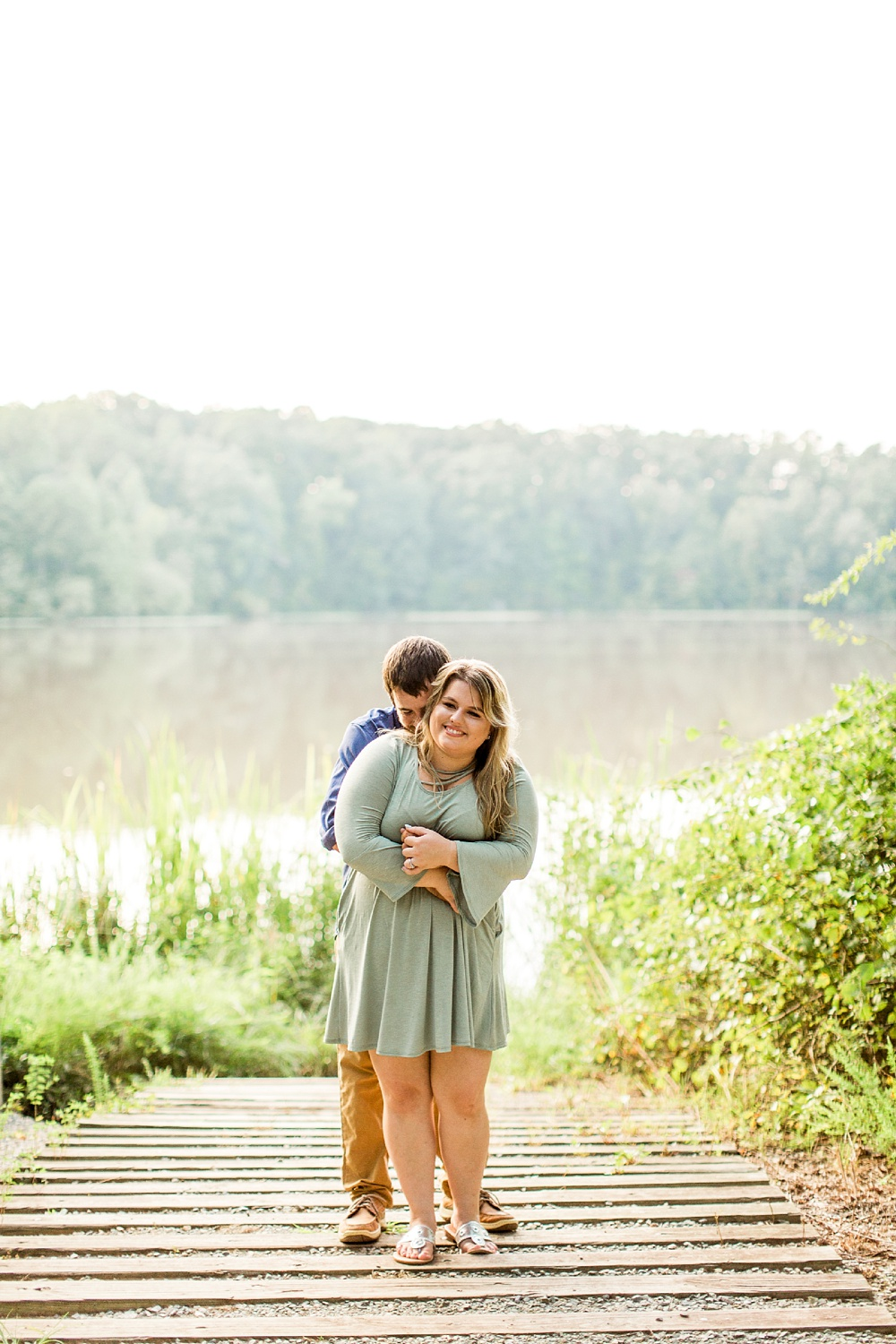 fun engagement session at nc pond