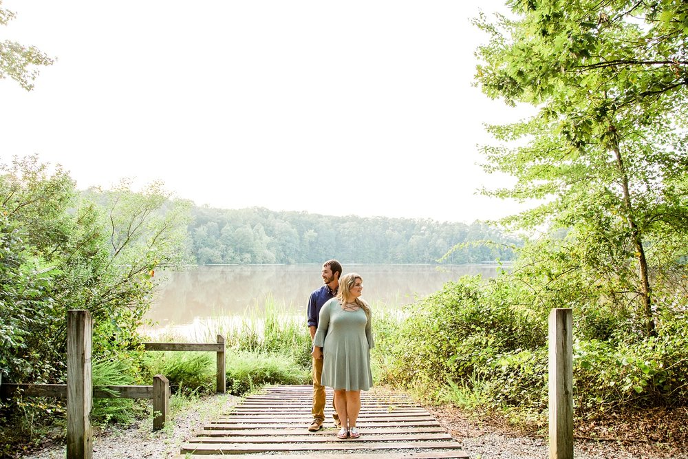 summer engagement session at historic yates mill park