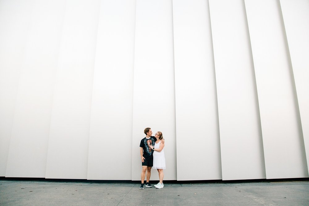 couple at the east wing building of NCMA