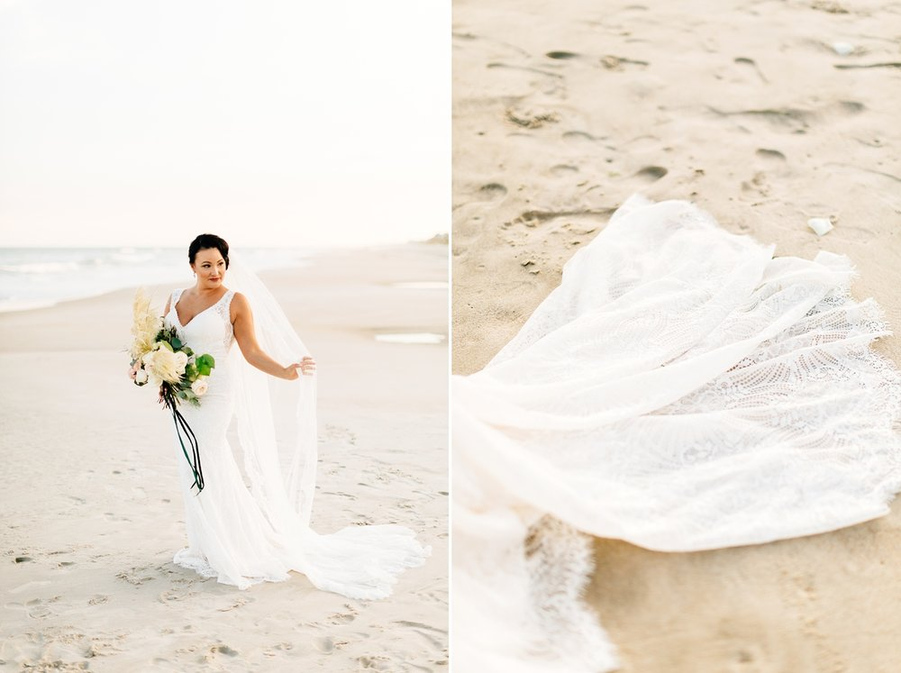 beach bridal session on the waterfront in topsail island by rachael bowman photography