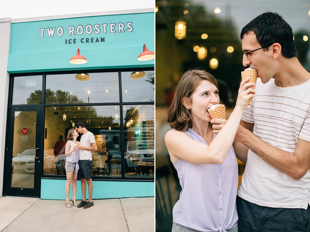 ice cream shop engagement session