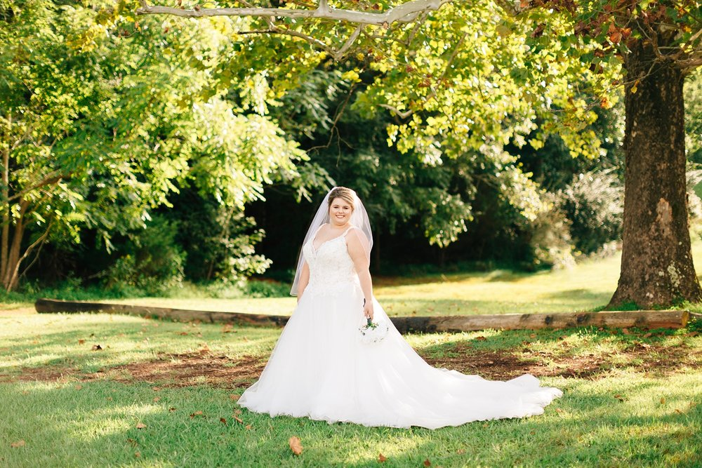 fall bridal portrait under an oak tree