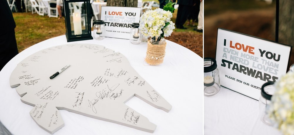 star wars themed wedding reception guest sign-in