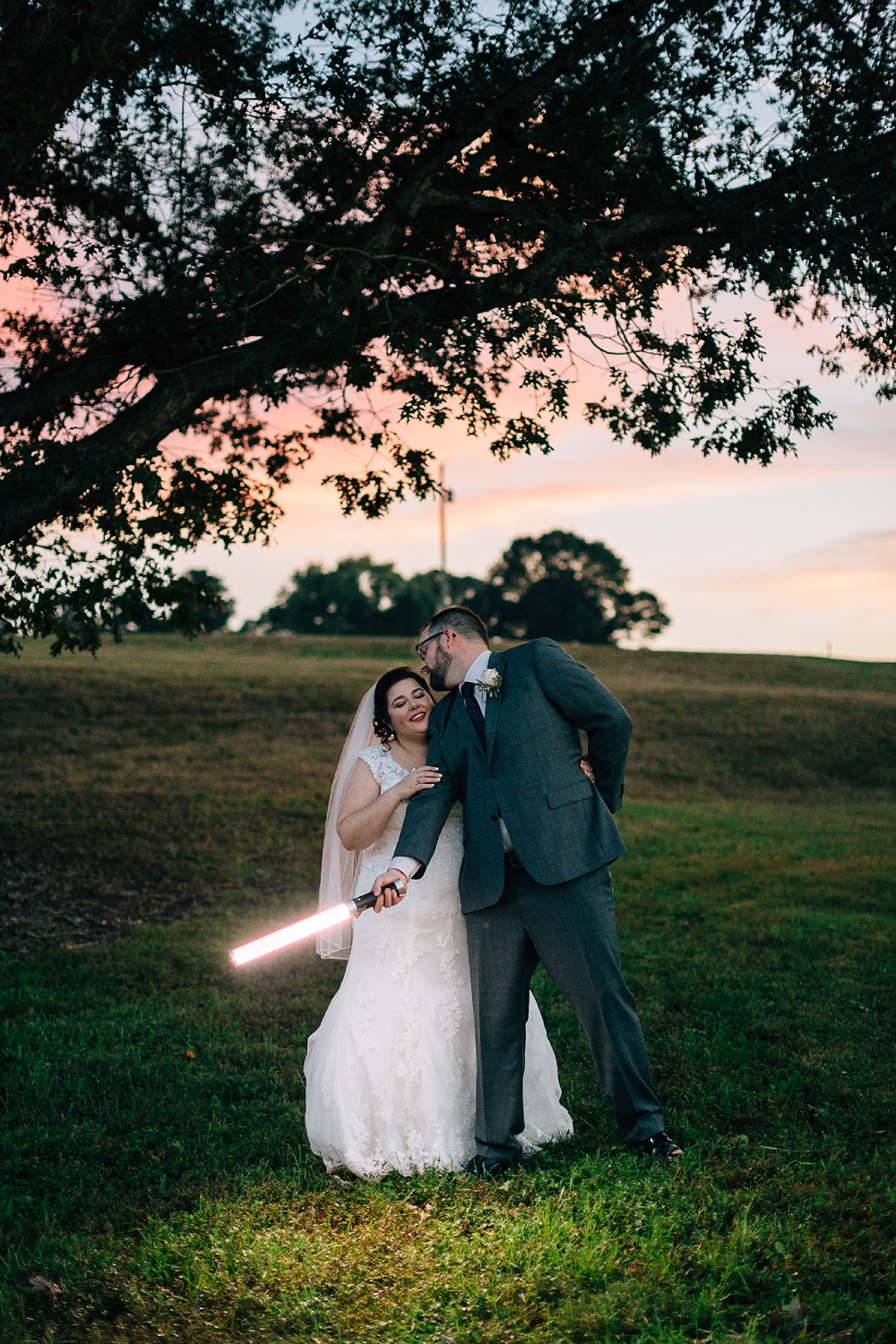 star wars wedding portrait with bride and groom by rachael bowman photography