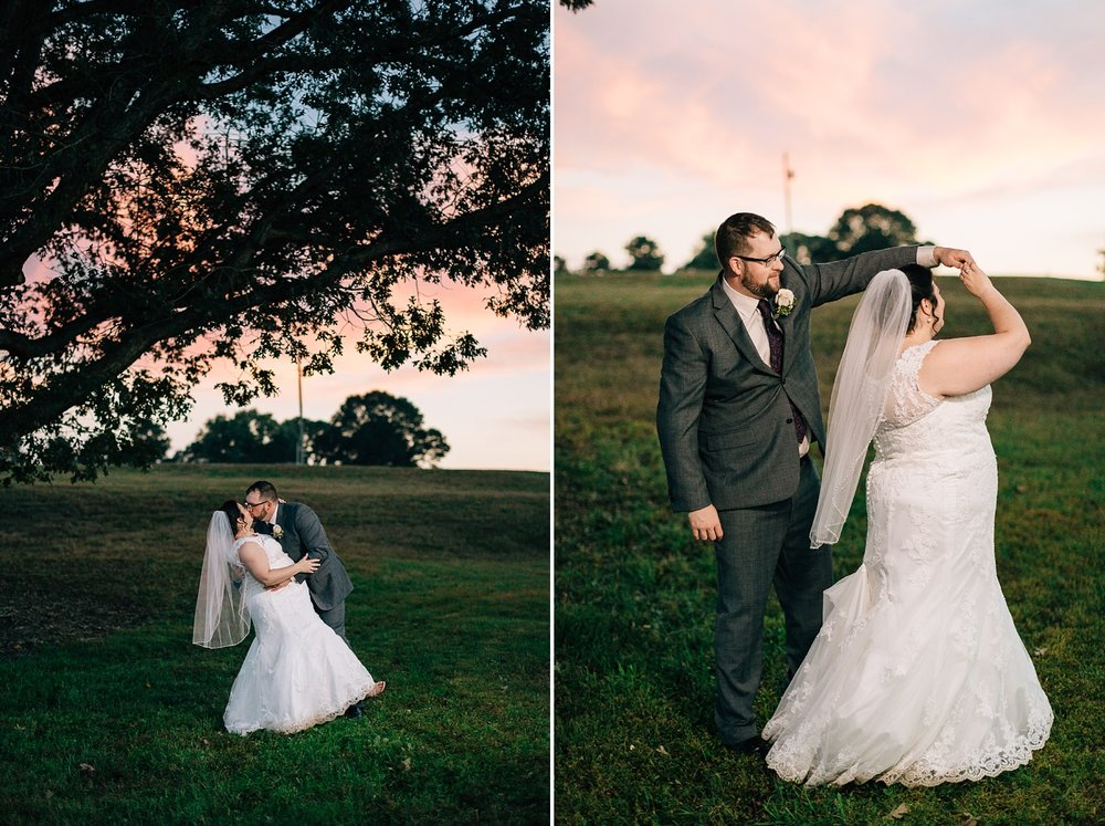 sunset bride and groom portraits at their backyard wedding