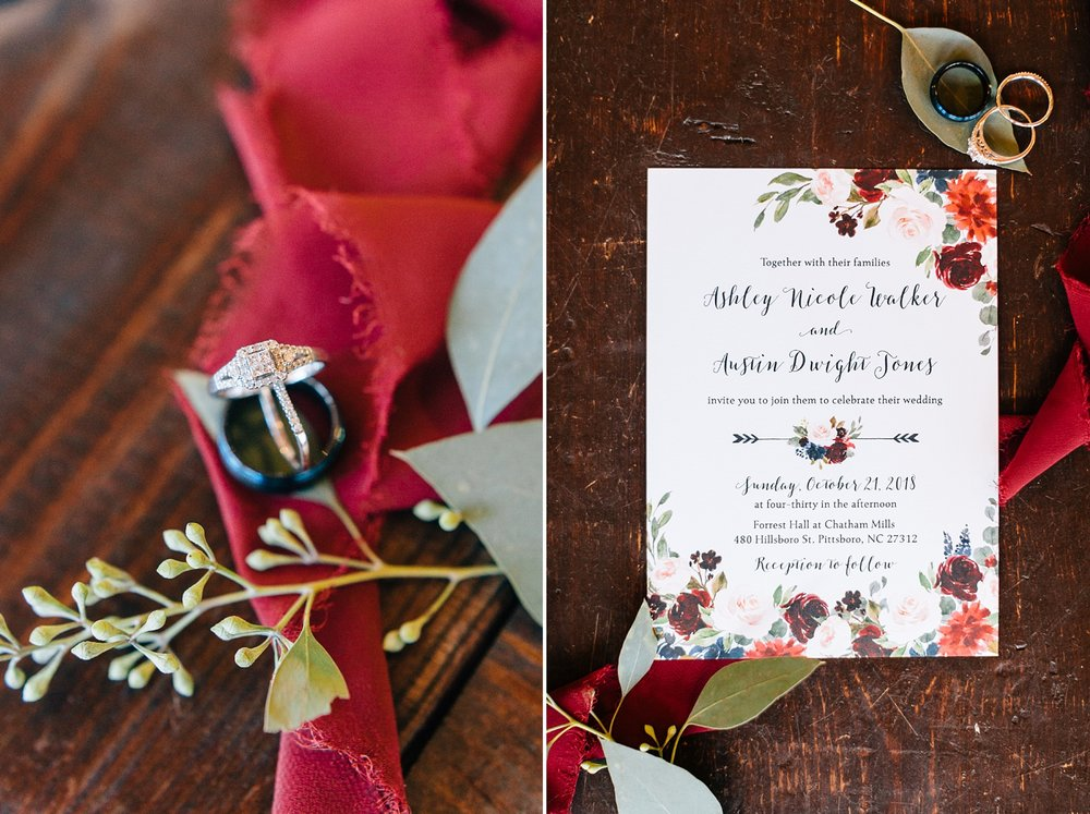 wedding details at forest hall at chatham mills by rachael bowman photography
