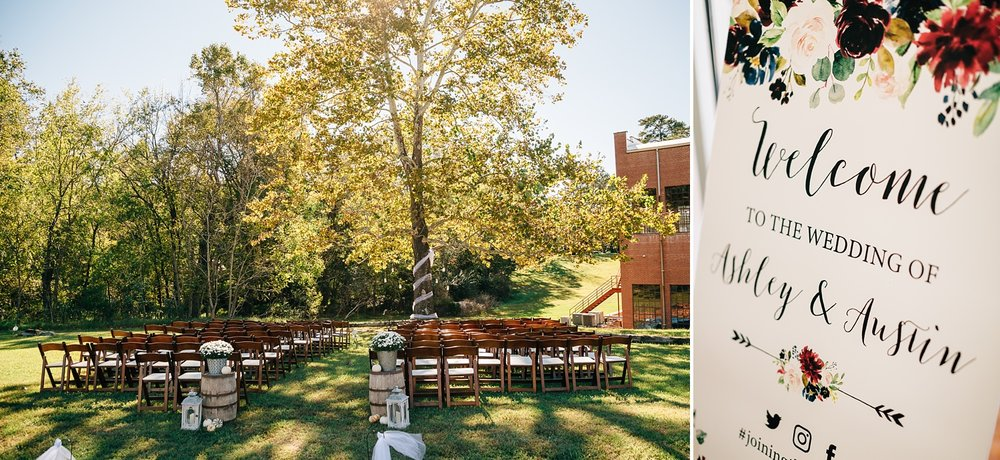 outdoor wedding ceremony at forest hall at chatham mills