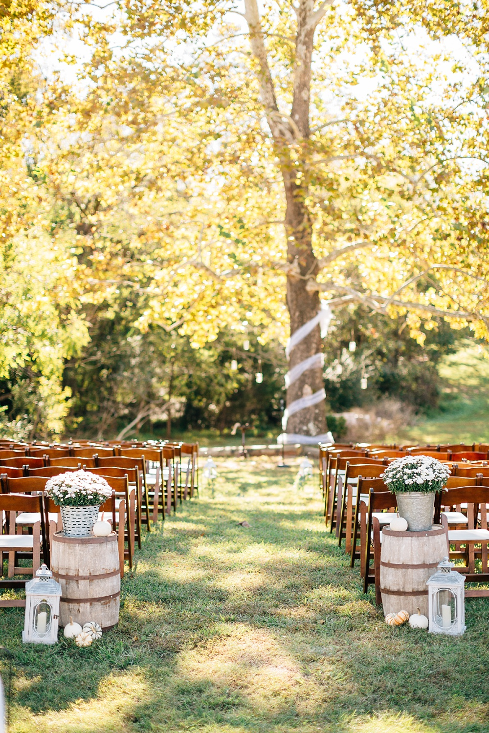 fall outdoor ceremony at forest hall at chatham mills