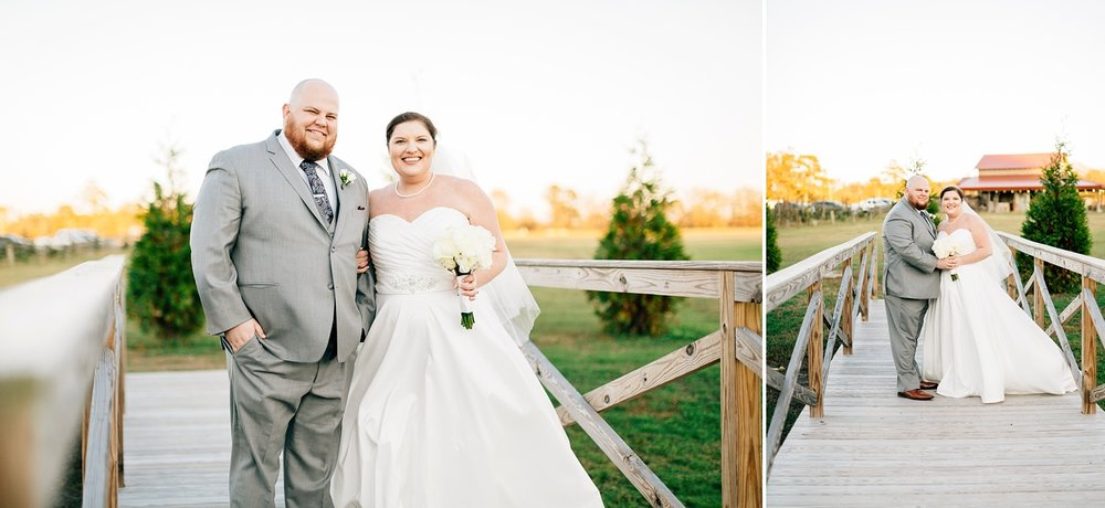 bride and groom cross the bridge at the cotton barn in winterville nc