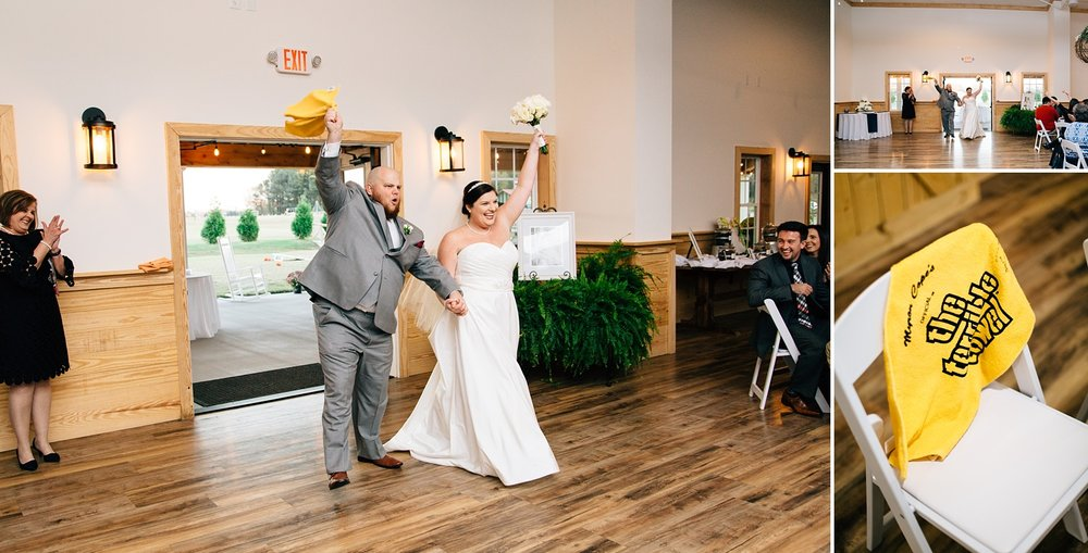 bride and groom enter their reception