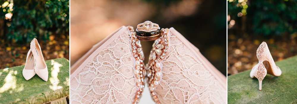 blush lace bridal shoes with gem details