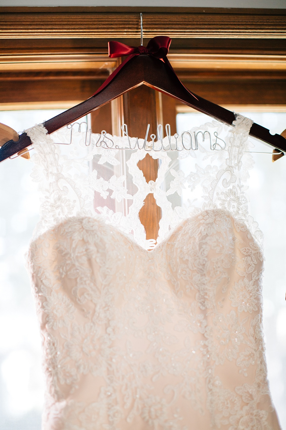 custom wood and wire wedding dress hanger