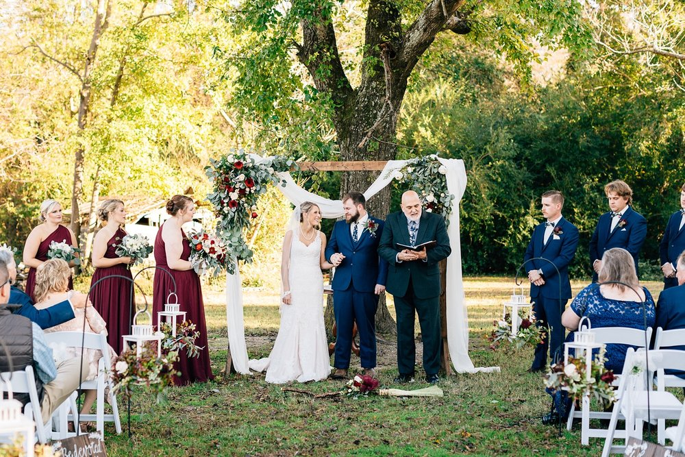 wedding ceremony at goldsboro bridge battlefield