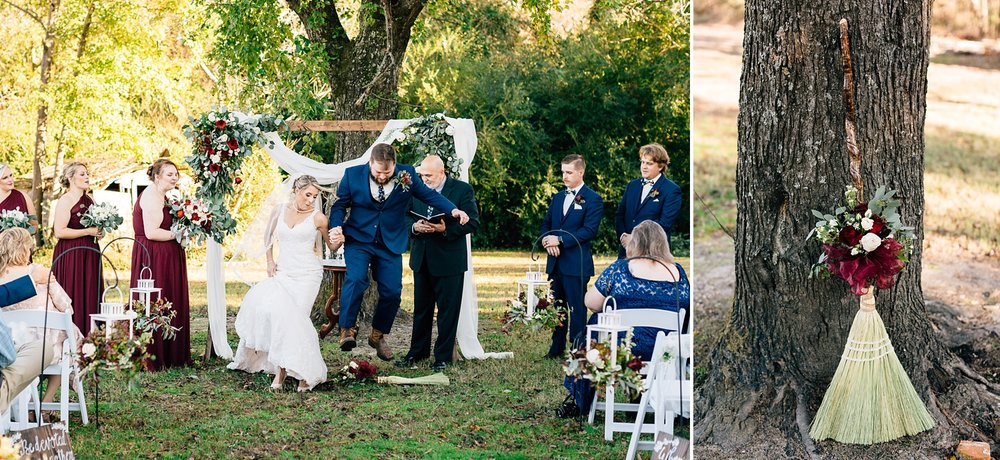 couple jumps the broom at their wedding ceremony