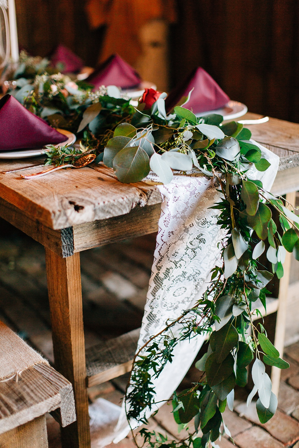 fall rustic wedding reception tablescape