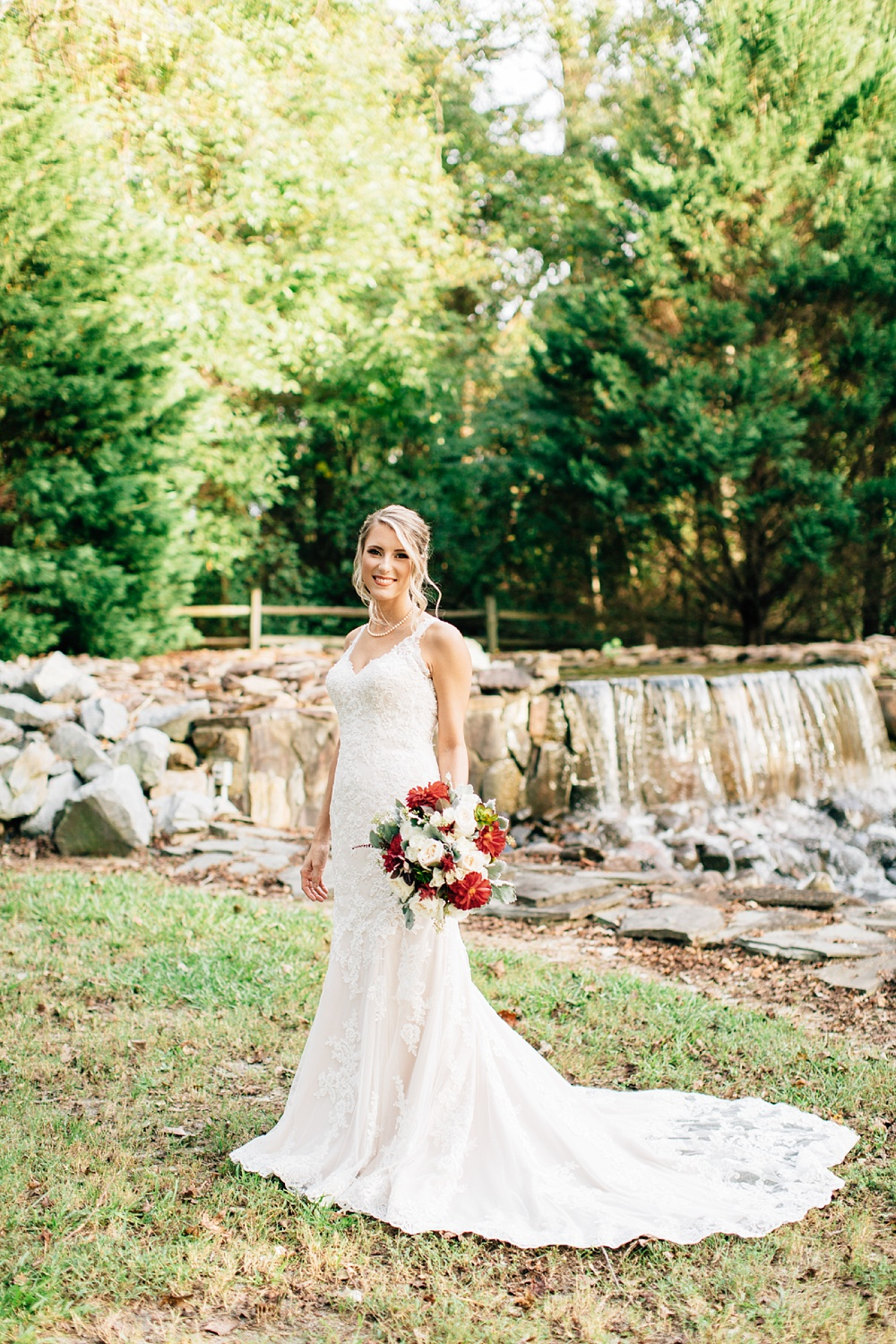 stone waterfall bridal session by rachael bowman photography