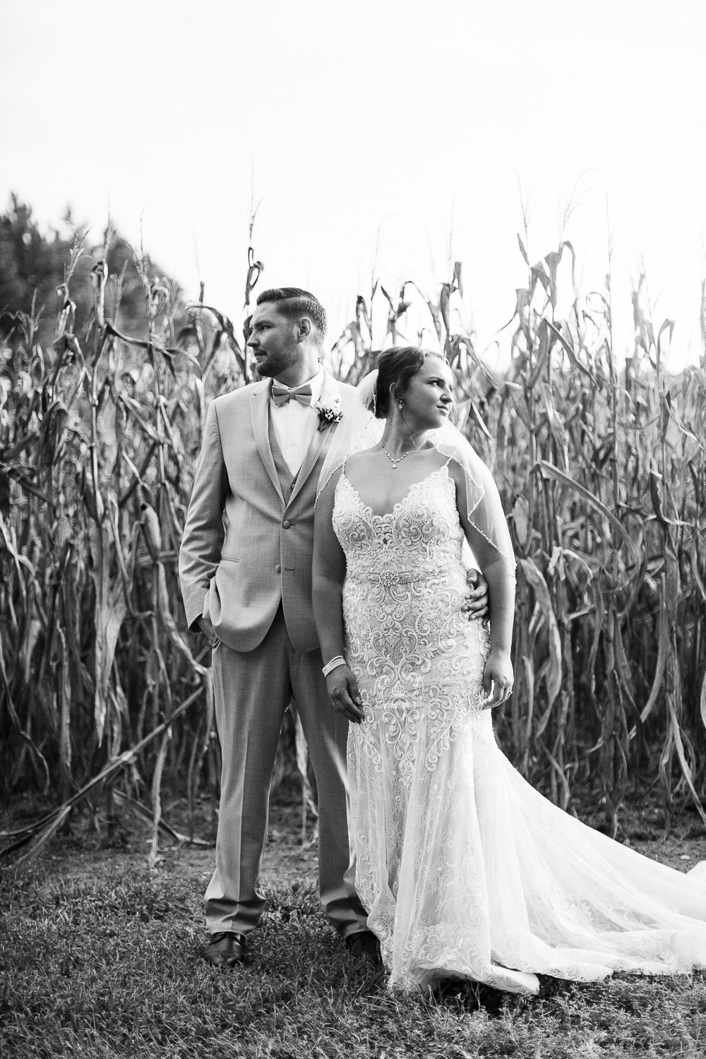 Bride and Groom looking away in front of corn field at Shady Wagon Farms near Raleigh NC