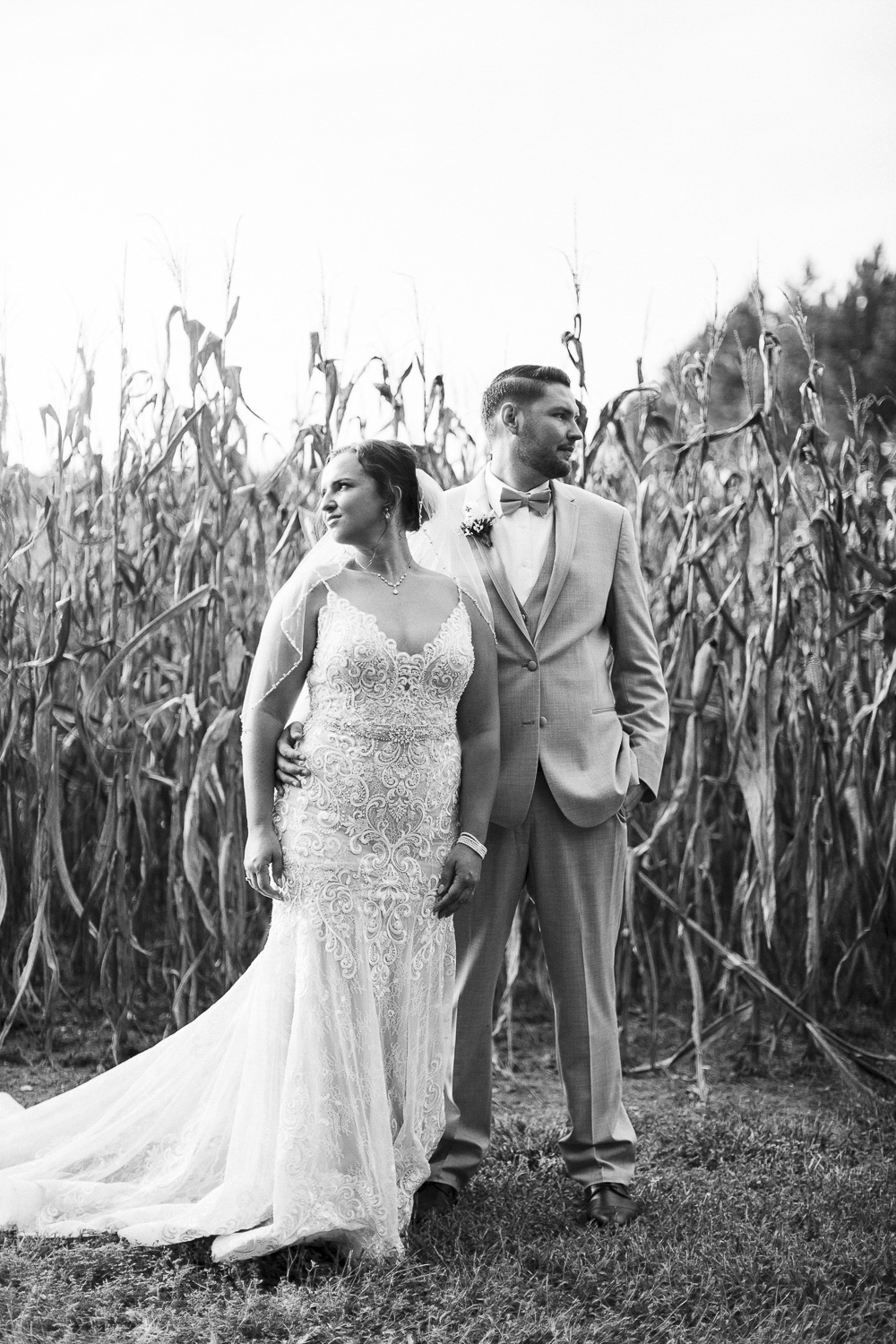 Black and White image of bride and groom on their wedding day