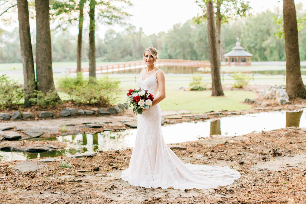outdoor bridal session by a stream by rachael bowman photography