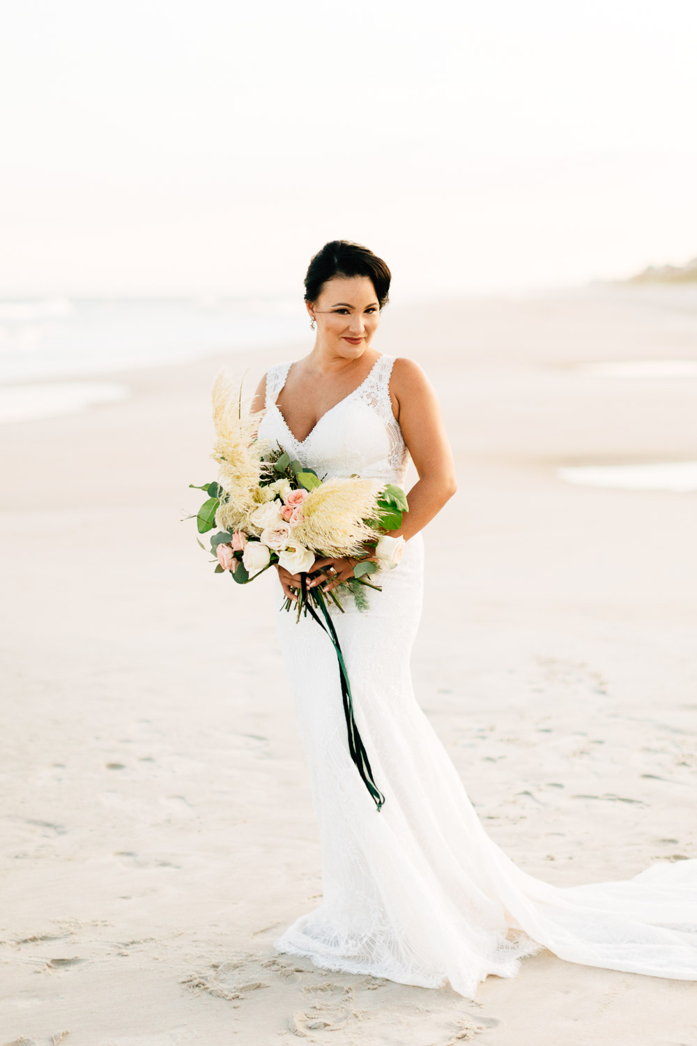 beachfront bridal session at topsail island by rachael bowman photography