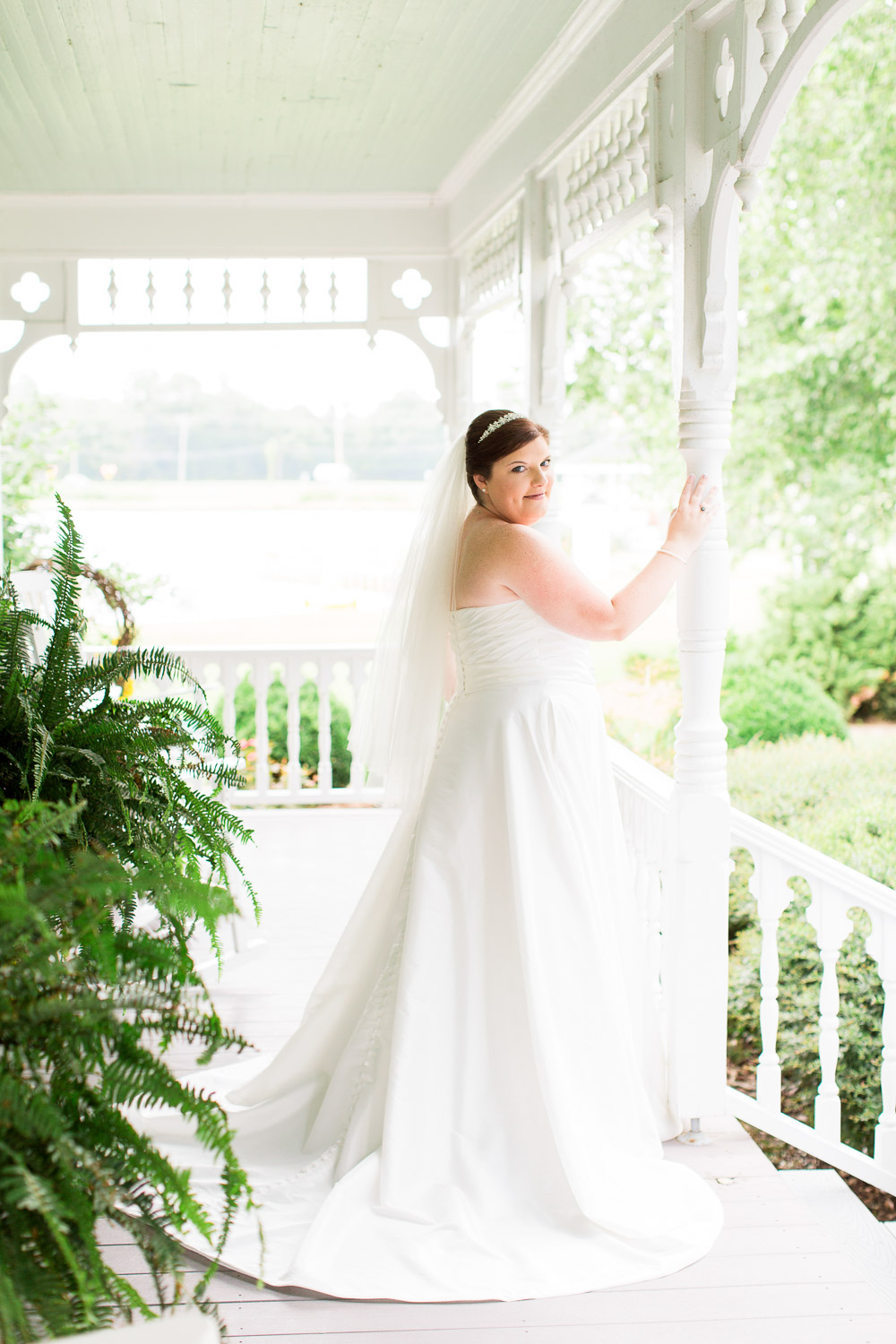 bridal portrait on a classic southern porch by rachael bowman photography