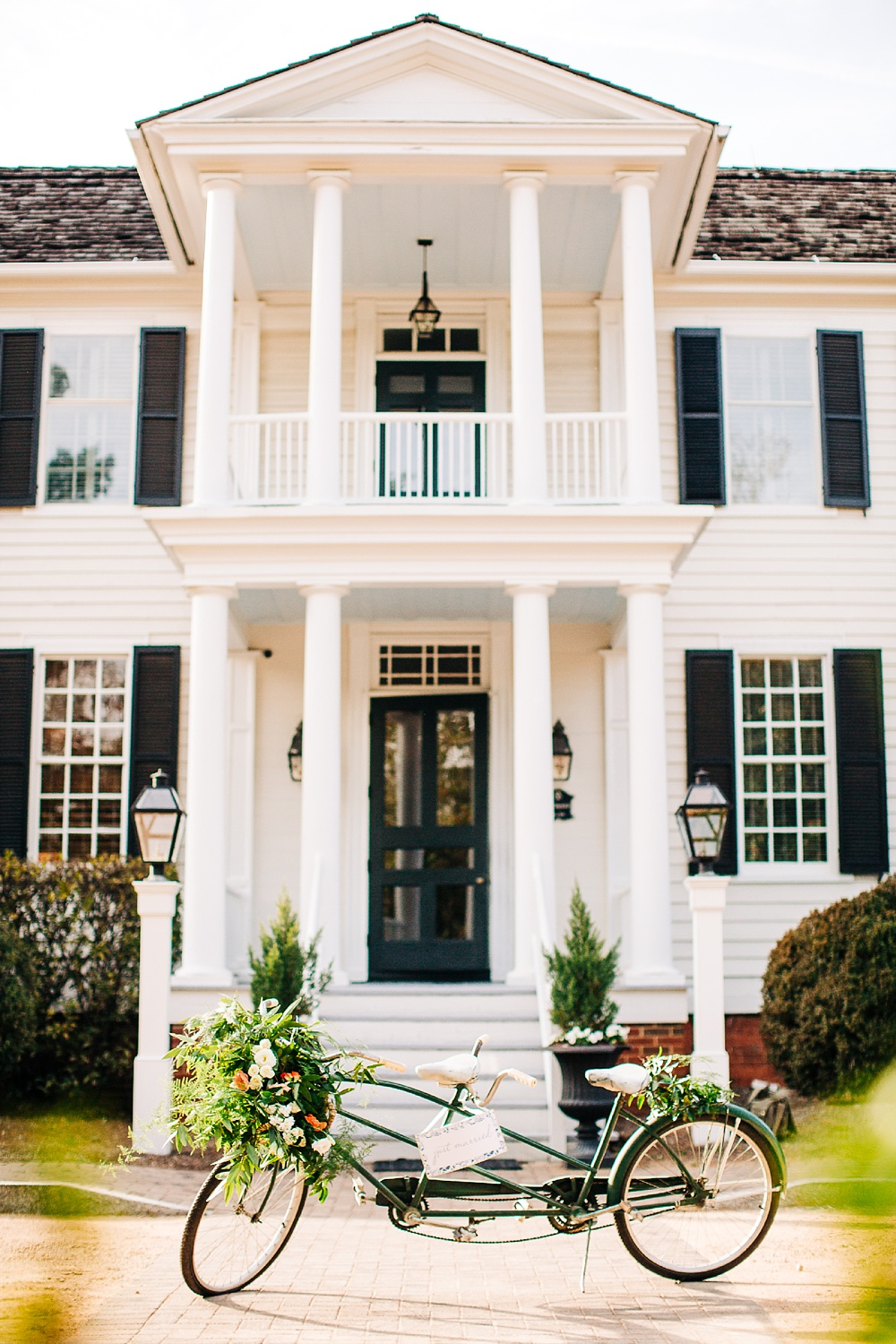 front facade of the sutherland wedding venue in wake forest, nc by rachael bowman photography