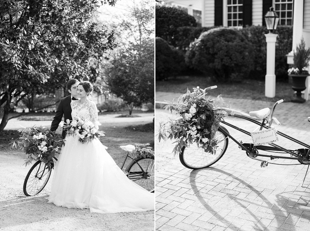 wedding with an antique bicycle