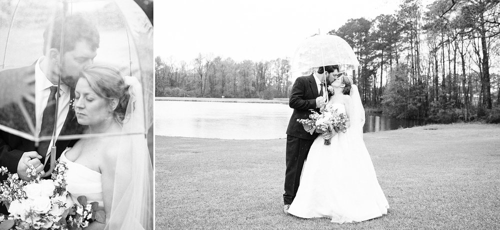 bride and groom portraits on rainy wedding day
