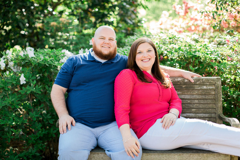 Spring engagement session at WRAL Azalea Gardens