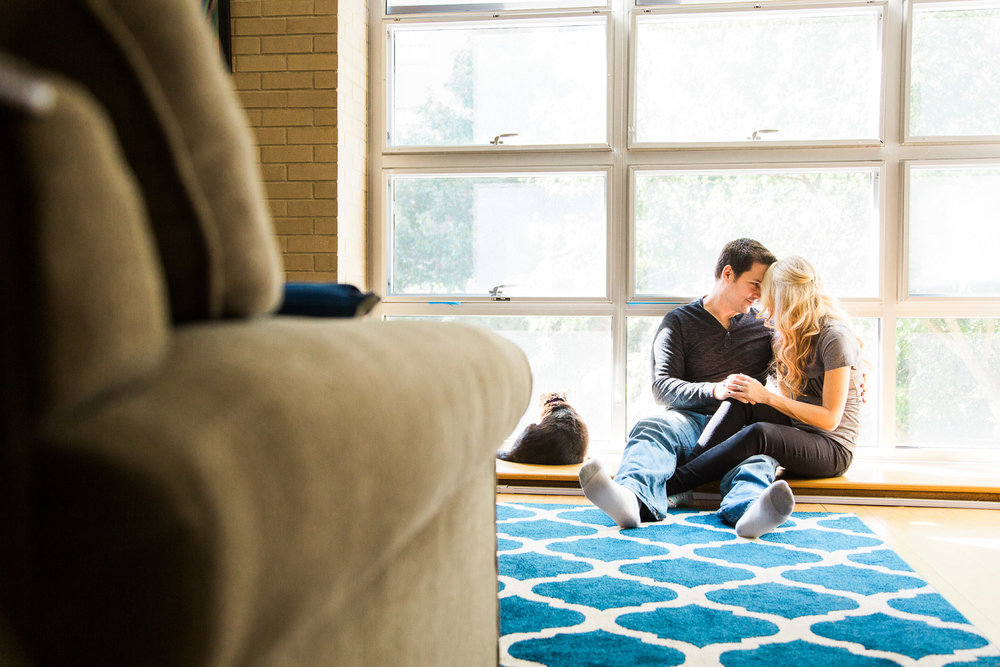 in home couples session in downtown raleigh
