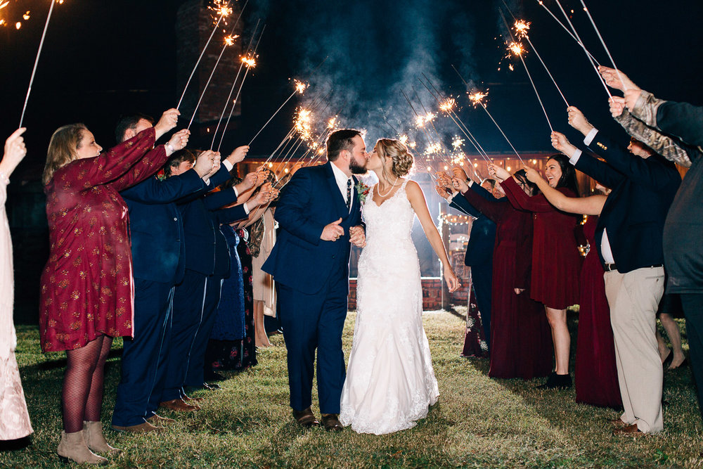outdoor sparkler exit at night