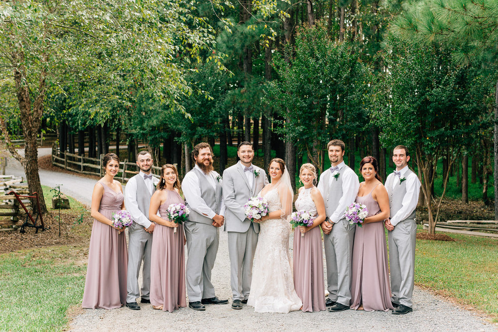 wedding party in lavendar and gray