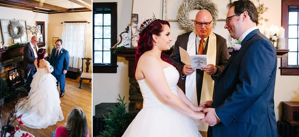 bride and groom exchange vows in a small in home wedding ceremony