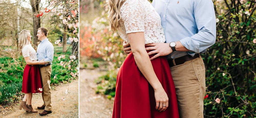 spring engagement session at coker arboretum in chapel hill, nc by rachael bowman photography