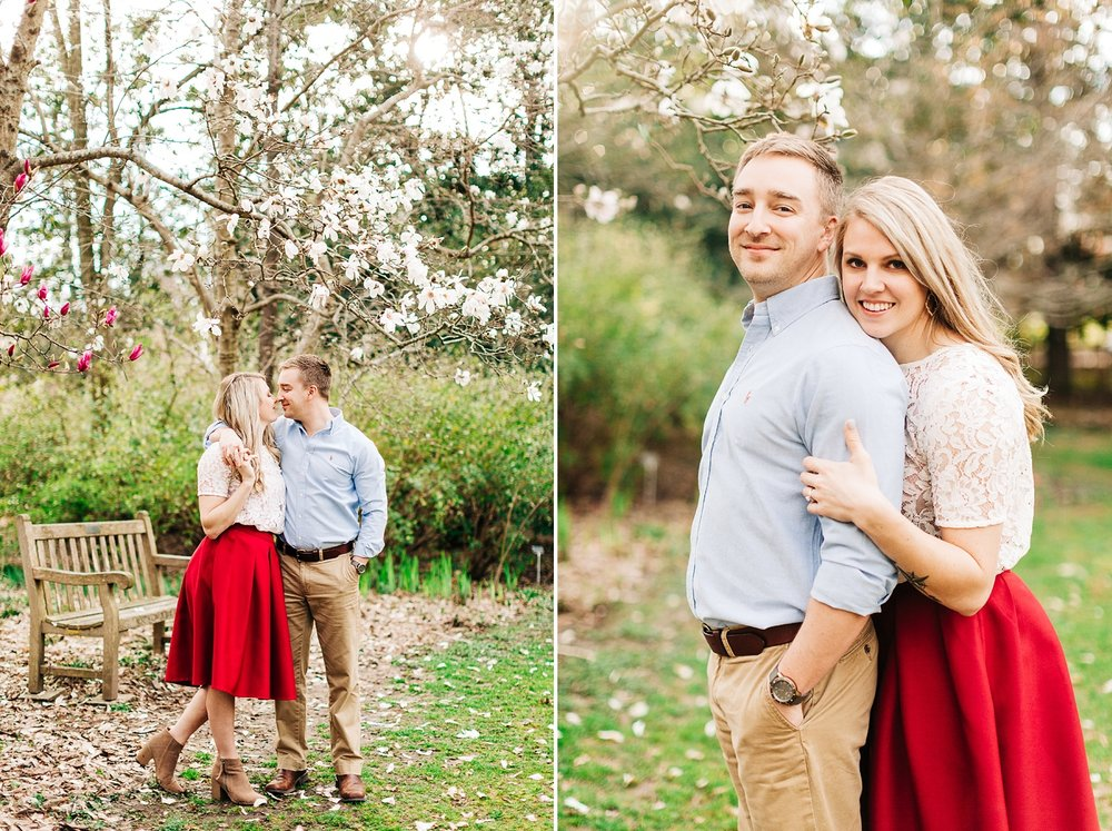 Spring engagement session at coker arboretum by rachael bowman photography