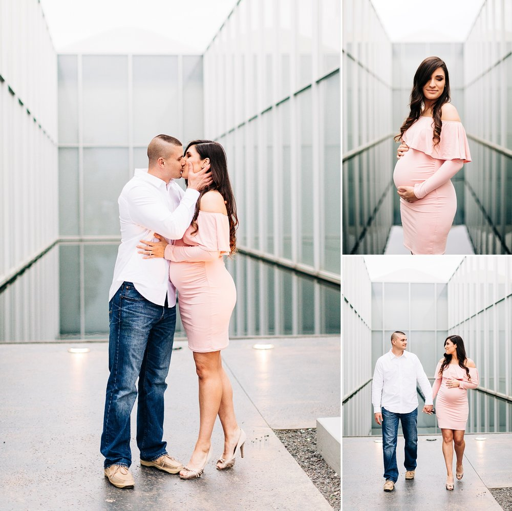 maternity session at the nc art museum reflecting pool