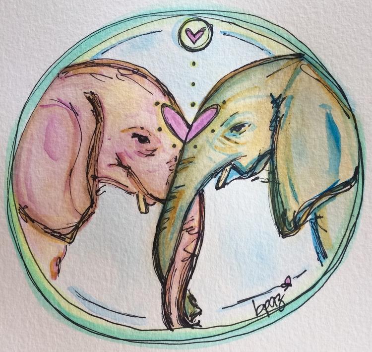 Elephants hug. Watercolour - Markers.