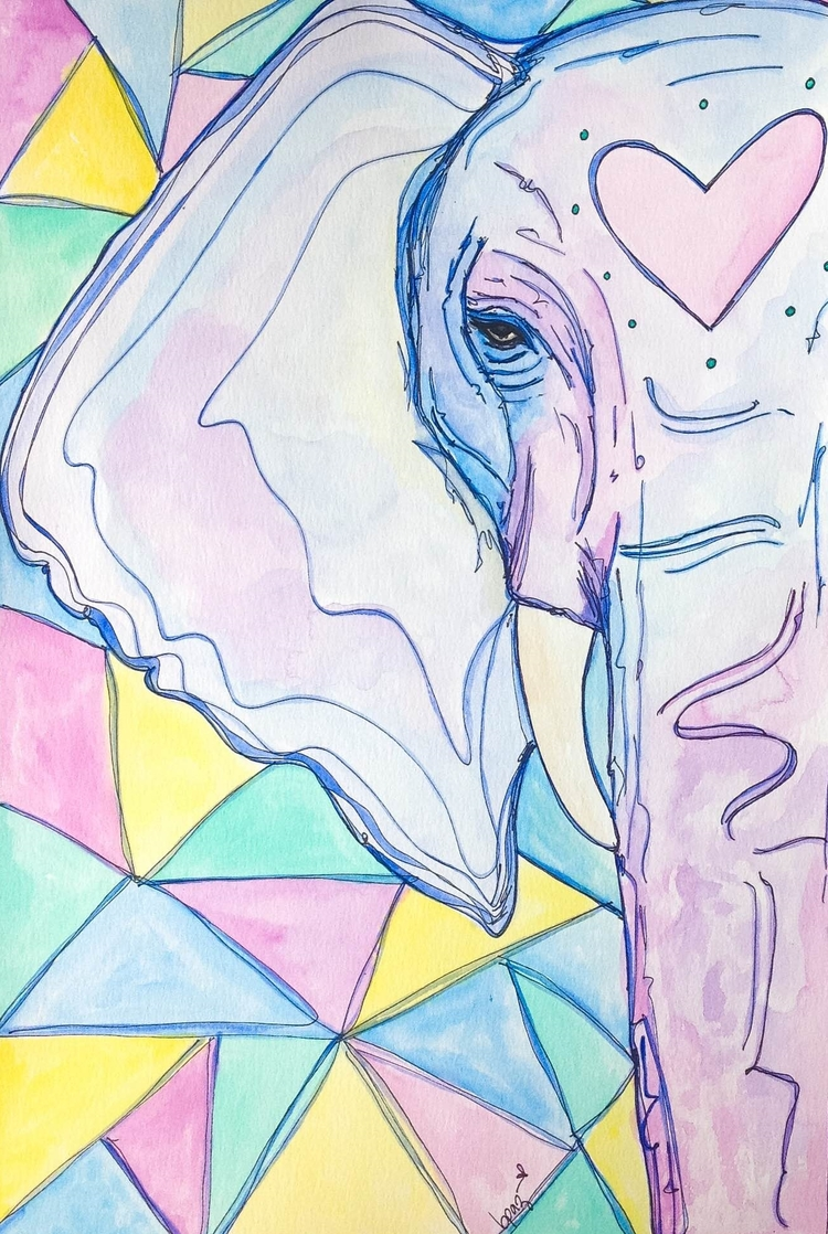 Elephant as a Cosmic Creature. Watercolour - Markers.