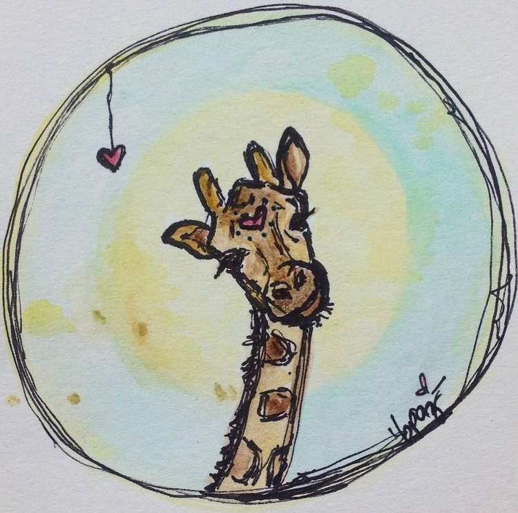 Giraffe. Watercolours - Markers.